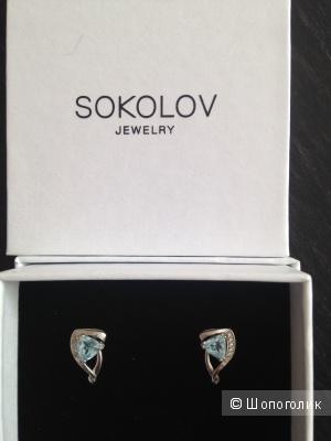Серебряные серьги с топазом Sokolov