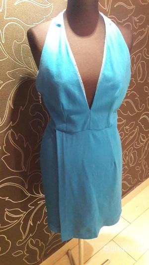 Asos: голубое коктельное платье-стрейч с запАхом, 12