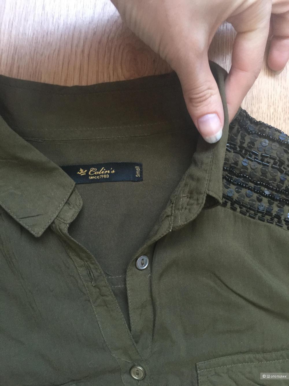 Блуза в милитари стиле с отделкой пайетками Colin's
