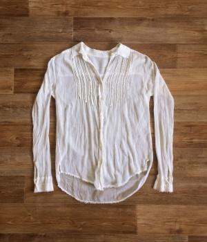 Лёгкая белая хлопковая рубашка на пуговицах в стиле бохо Free People размер XS.