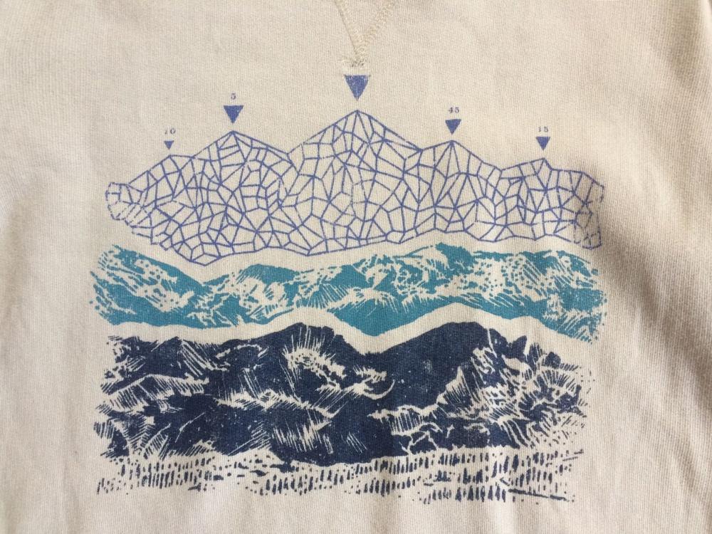 Классический бежевый свитшот с принтом горы United by Blue Urban Outfitters размер XS.