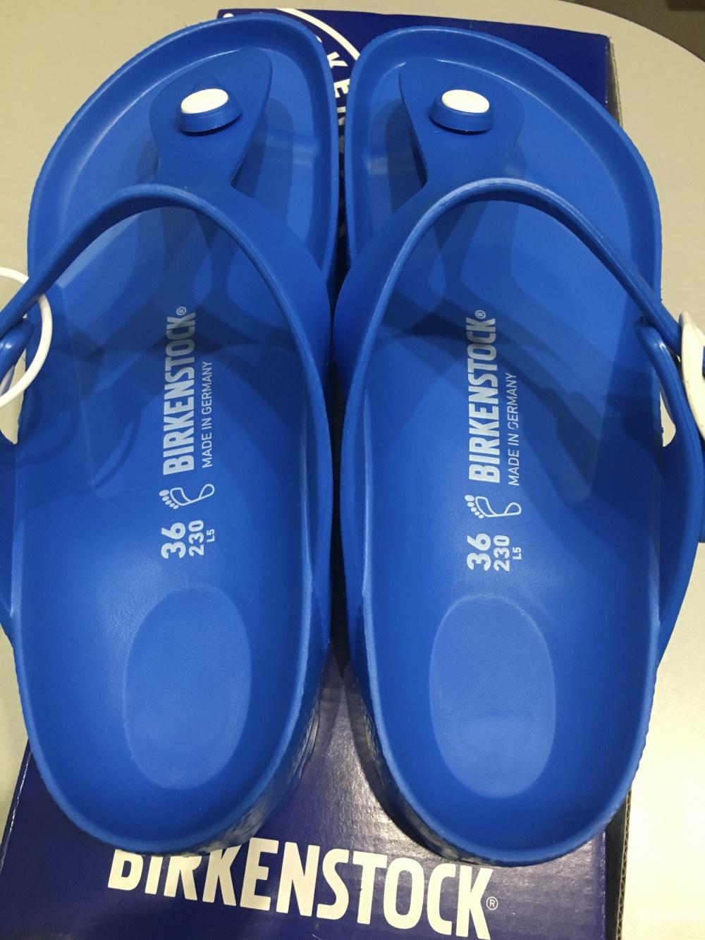 Сандалии с Т-образным ремешком Birkenstock, размер 36, 23 см по стельке. Синие