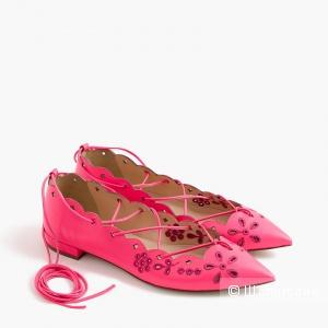 Неоновые туфли-балетки со шнурками J Crew размер 38-39