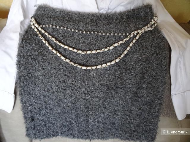 "Серая юбка ""Morgan"", размер 44, б/у"