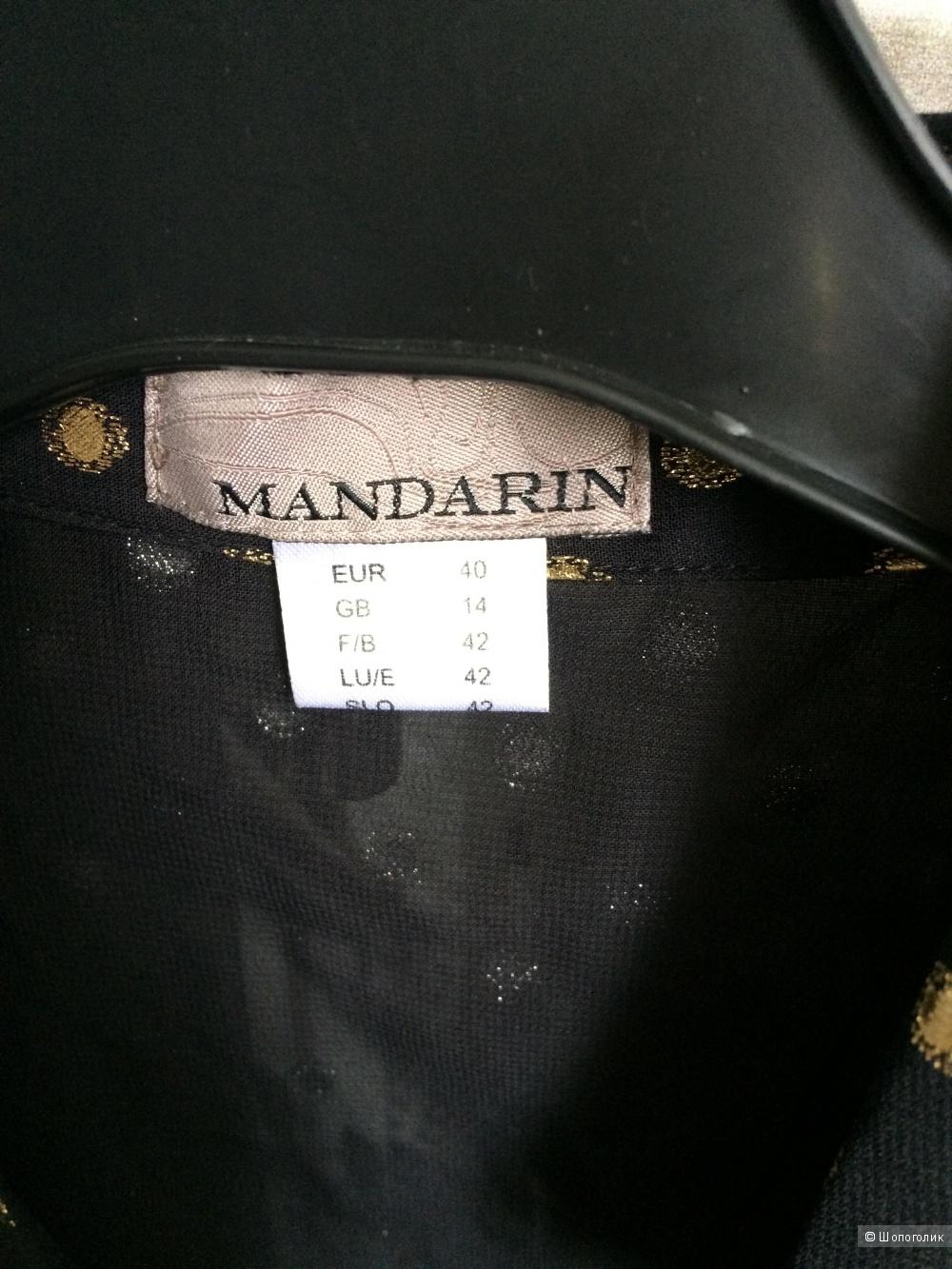 Шифоновая блузка рубашка с горошинами 46-48 размер