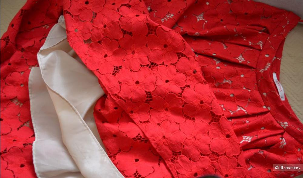 Кружевная, красная, летняя юбка миди.