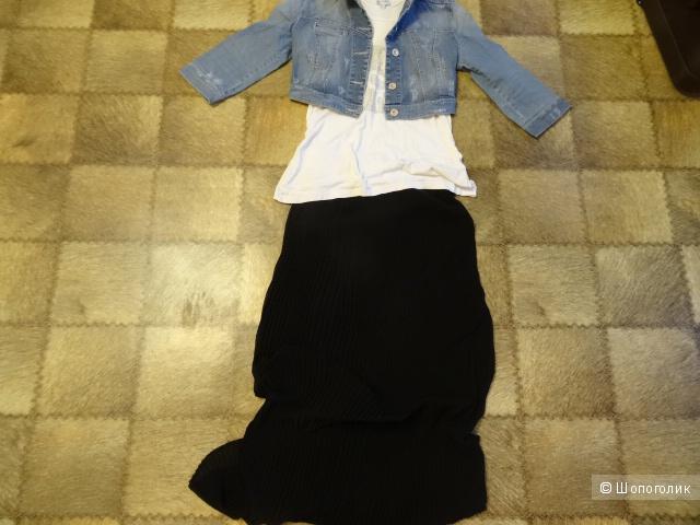 Плиссированная юбка макси из шифона , размер 42-44,б/у