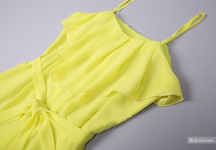 Желтое шелковое платье XL