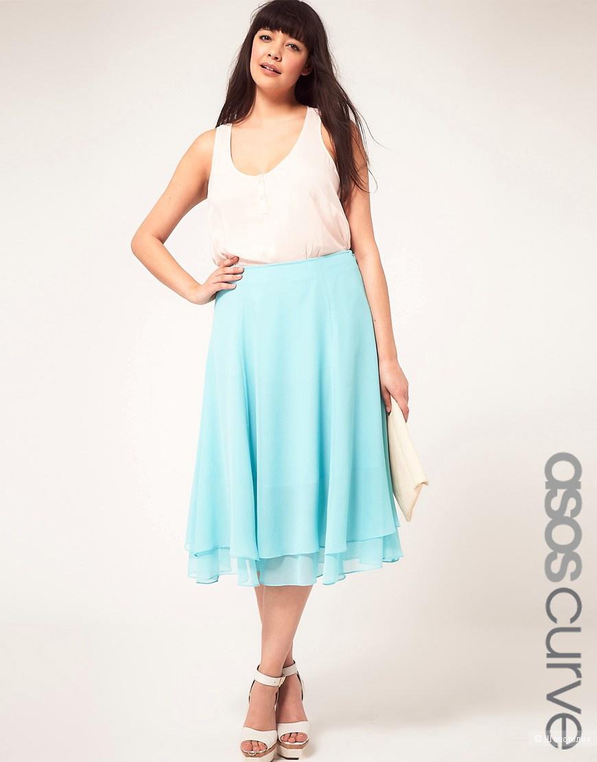 Новая голубая юбка, большой размер, UK20