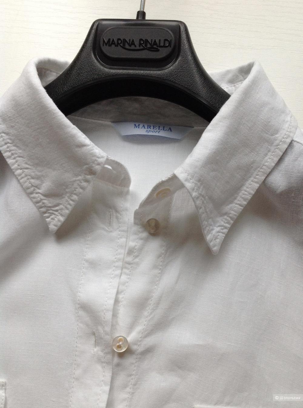 Белая льняная рубашка Marella sport, размер 50-52.