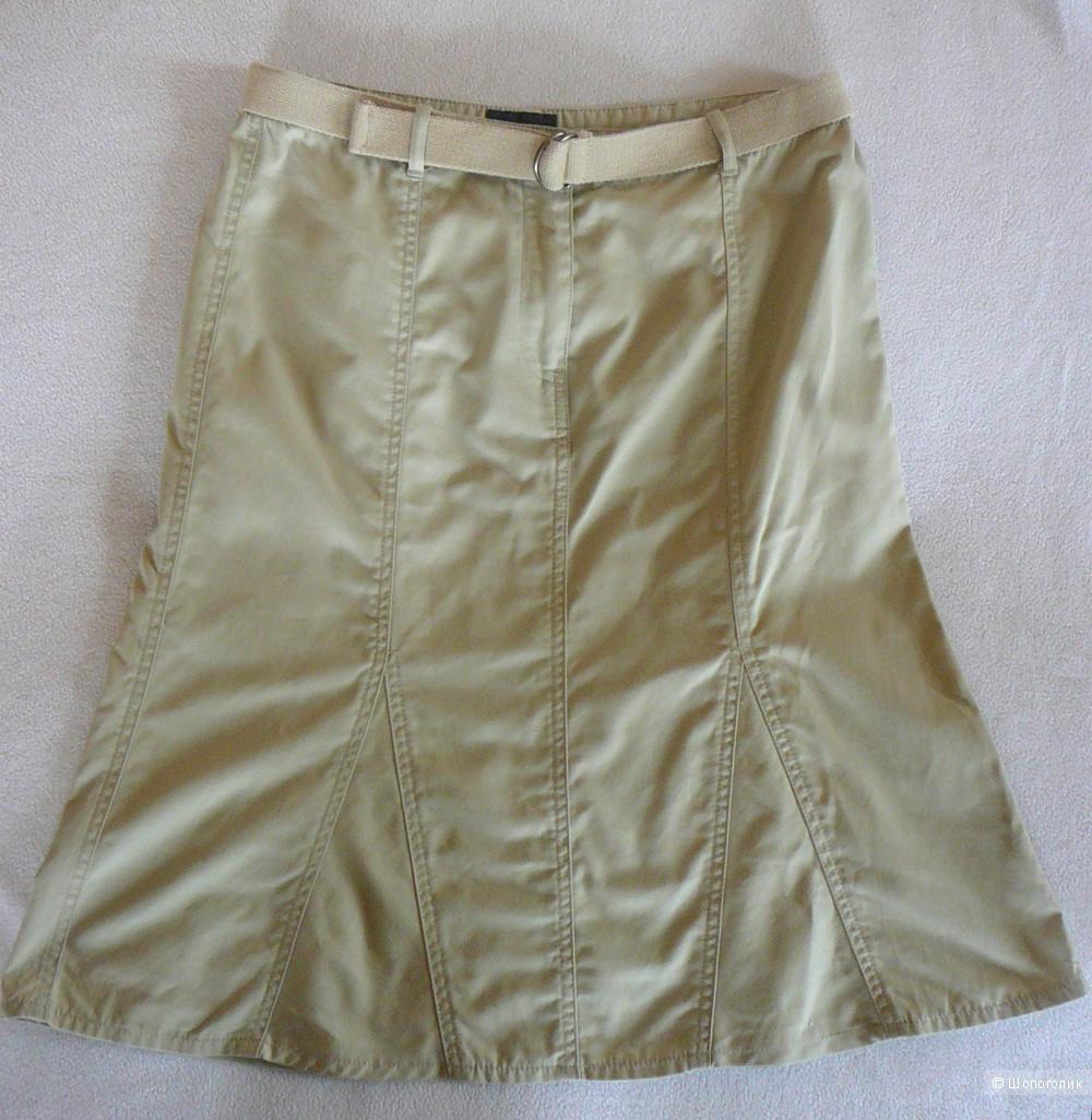Бежевая джинсовая юбка до колен МЕХХ р46