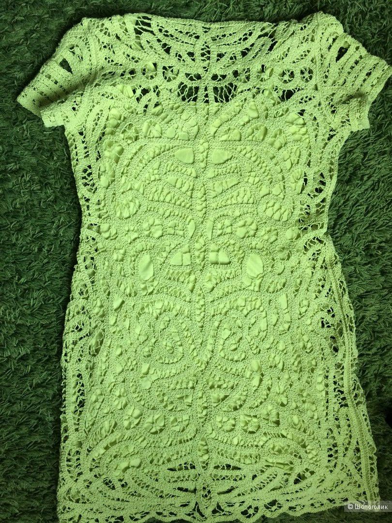 Кружевное салатное летнее платье 48-50 размер
