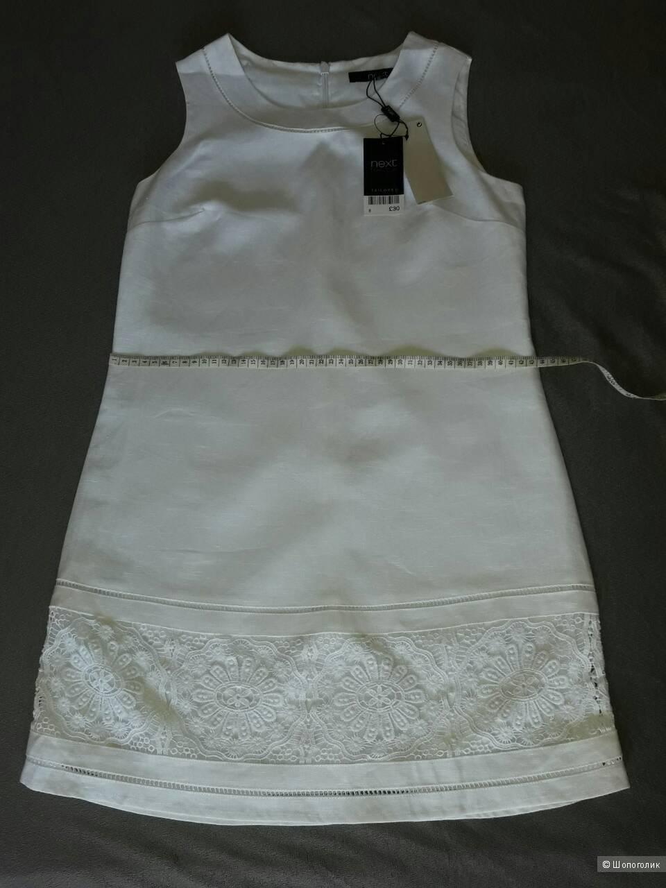 Белое льняное платье Next