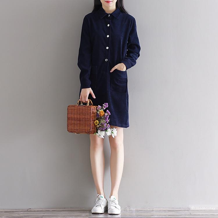 Вельветовое синее новое платье-рубашка с биркой 50р