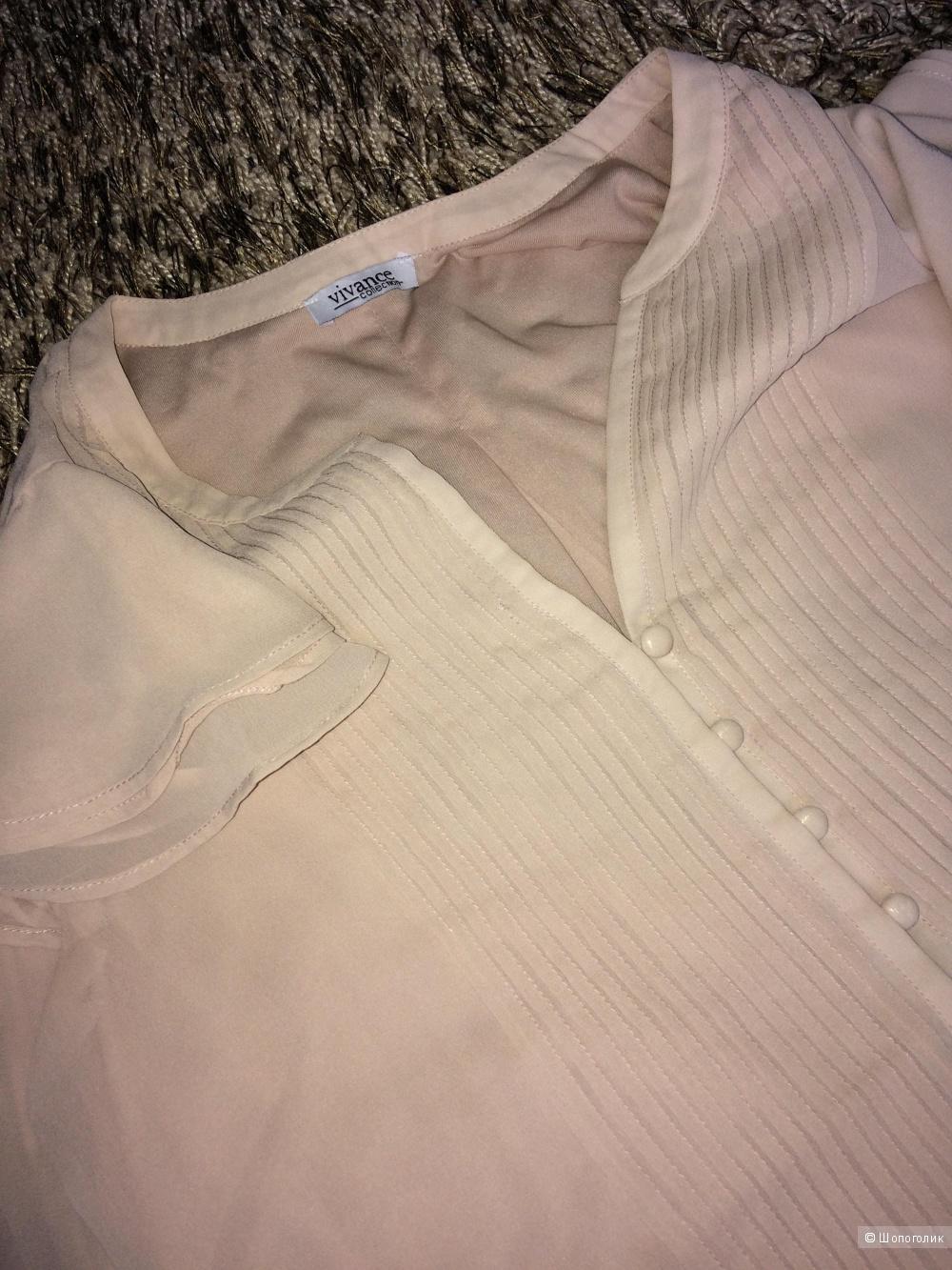 Блузка пудровый розовый шифон 48 разм