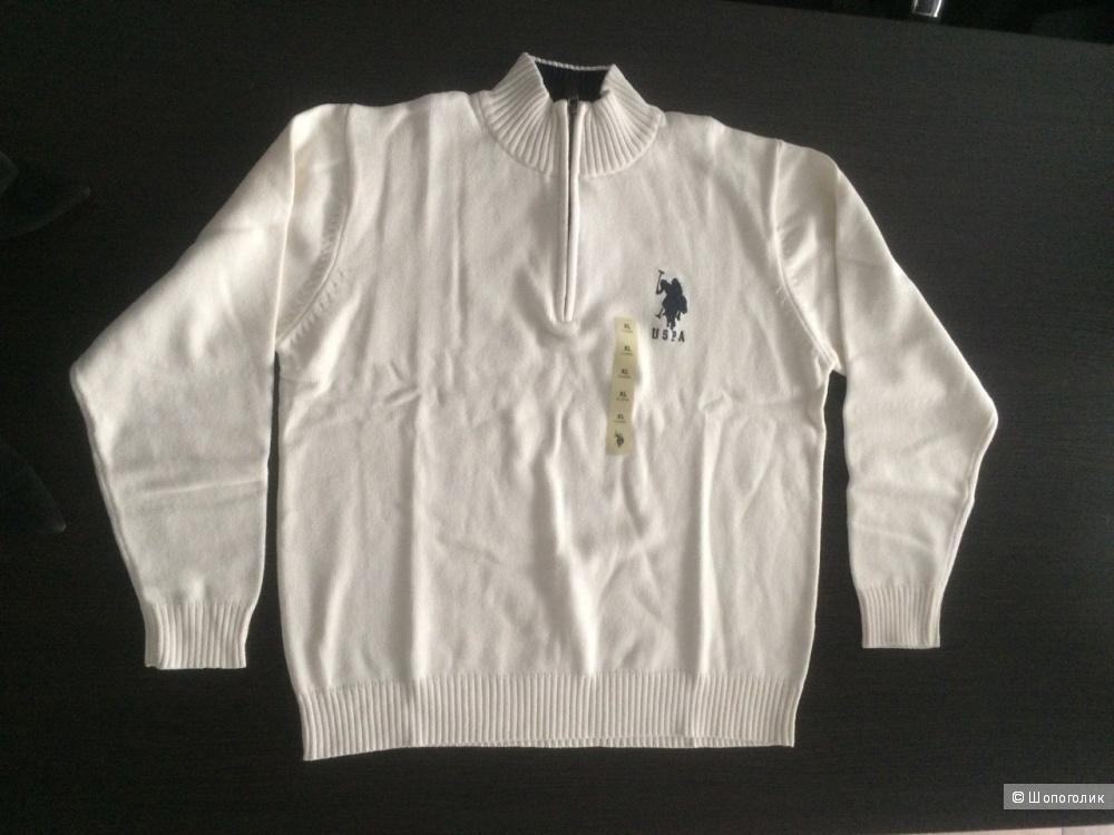 """Мужской свитер с молнией """"Polо Assn"""". Молочно-белый. Размер XL, Новая вещь."""