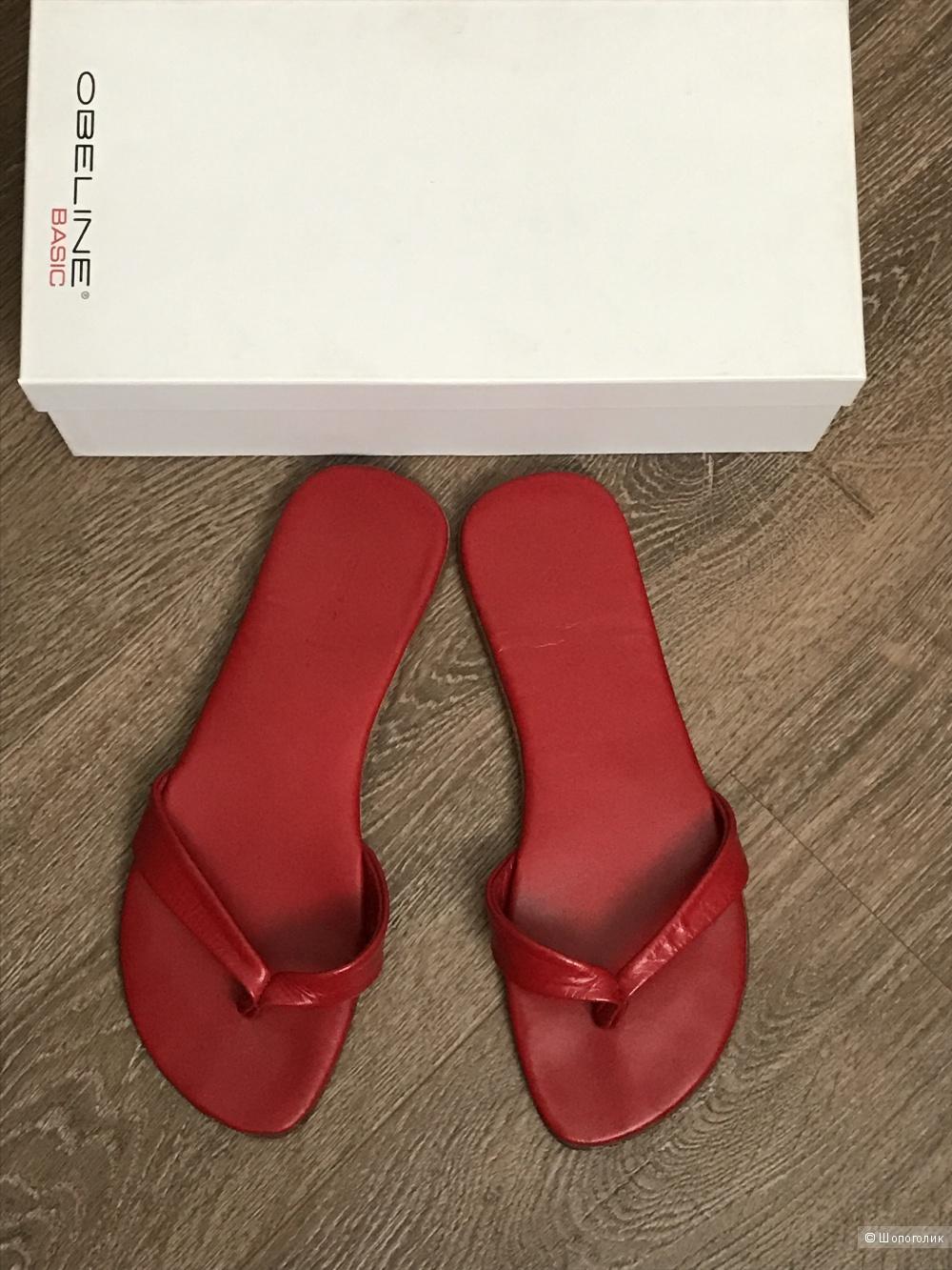Красные кожаные сланцы Obeline, размер 37