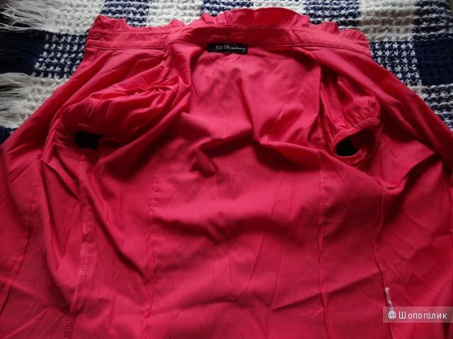 Коралловая блузка с бантиками, размер 42, б/у