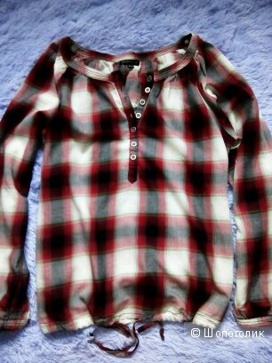 Рубашка в клетку, размер 44-46, 100% хлопок