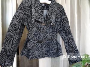 Куртка cotton с рисунком из велюра, размер 44-46, б/у