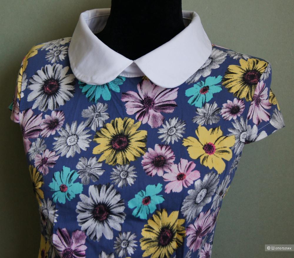 Летнее платье с цветочным принтом, р-р 44