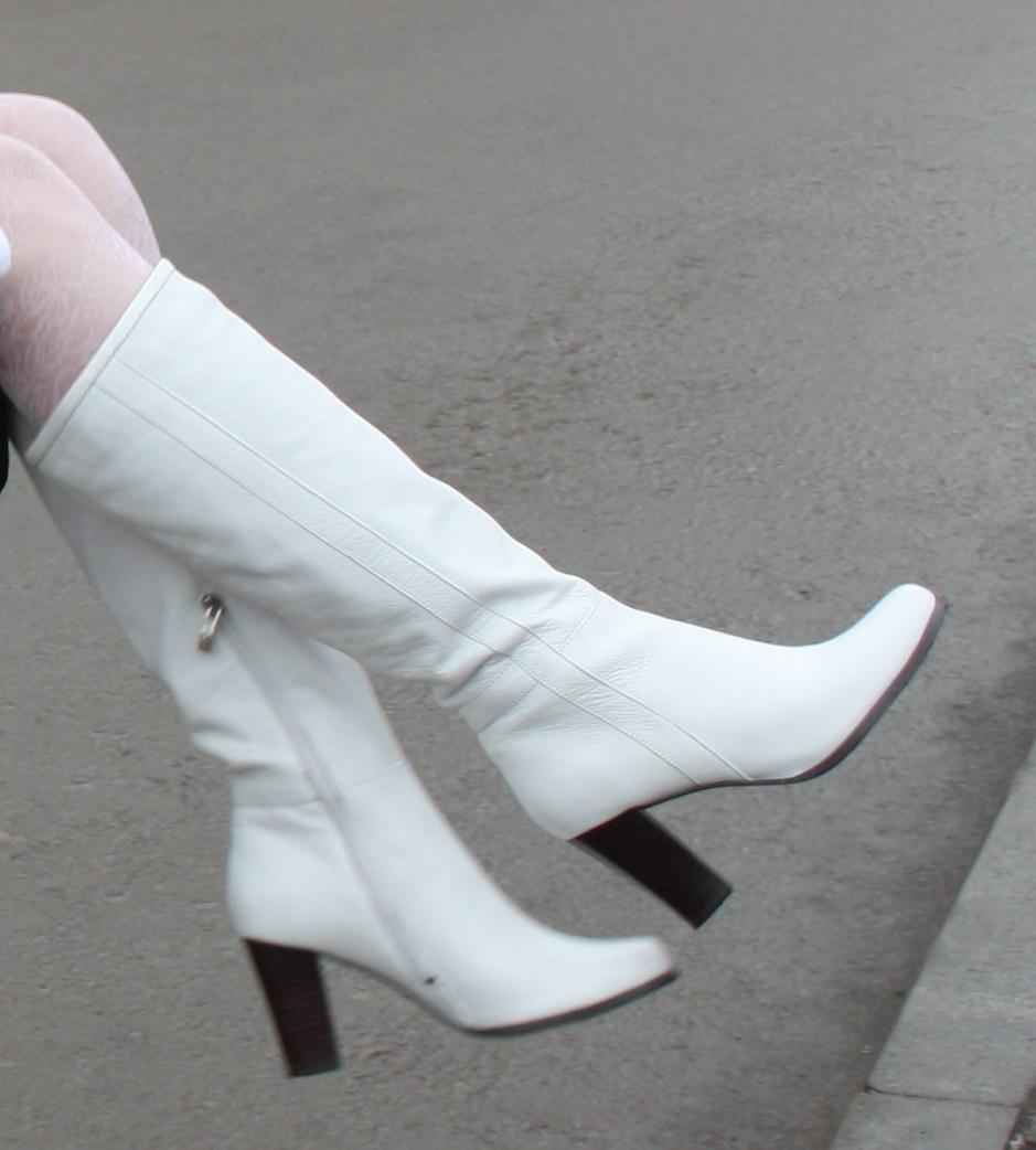 Белые кожаные сапоги Ria Rosa, демисезон, размер 39
