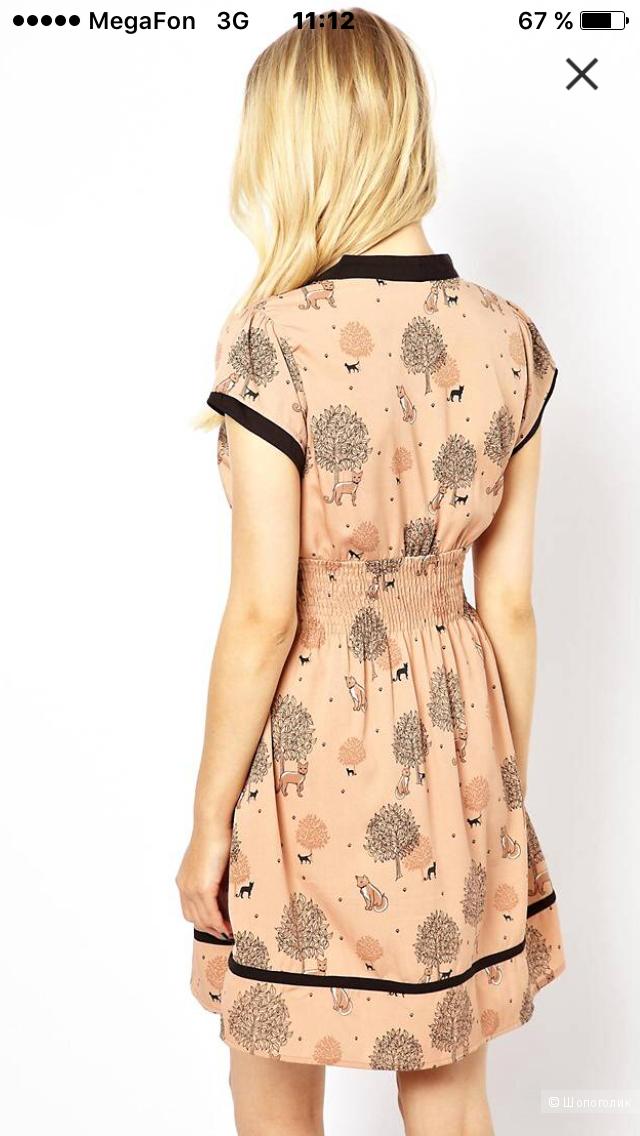 Платье с принтом очаровательных лисичек Yumi (размер 10uk-38eur)
