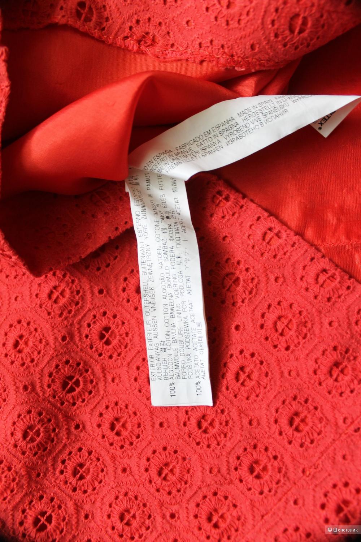 Красное,ажурное платье,бренд ZARA BASIC,размер S,рус.42-44