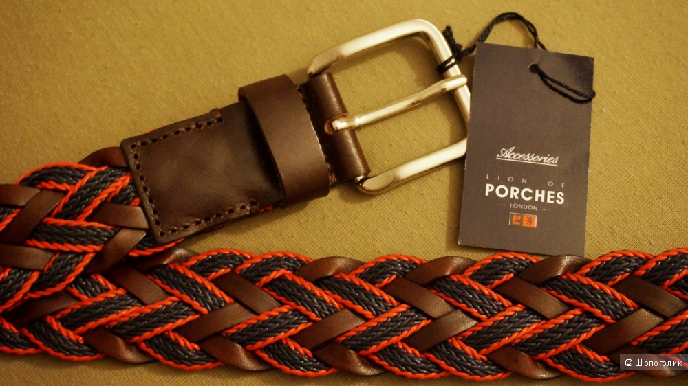 Мужской красный/коричневый ремень Lion of Porches 100 см плетеный