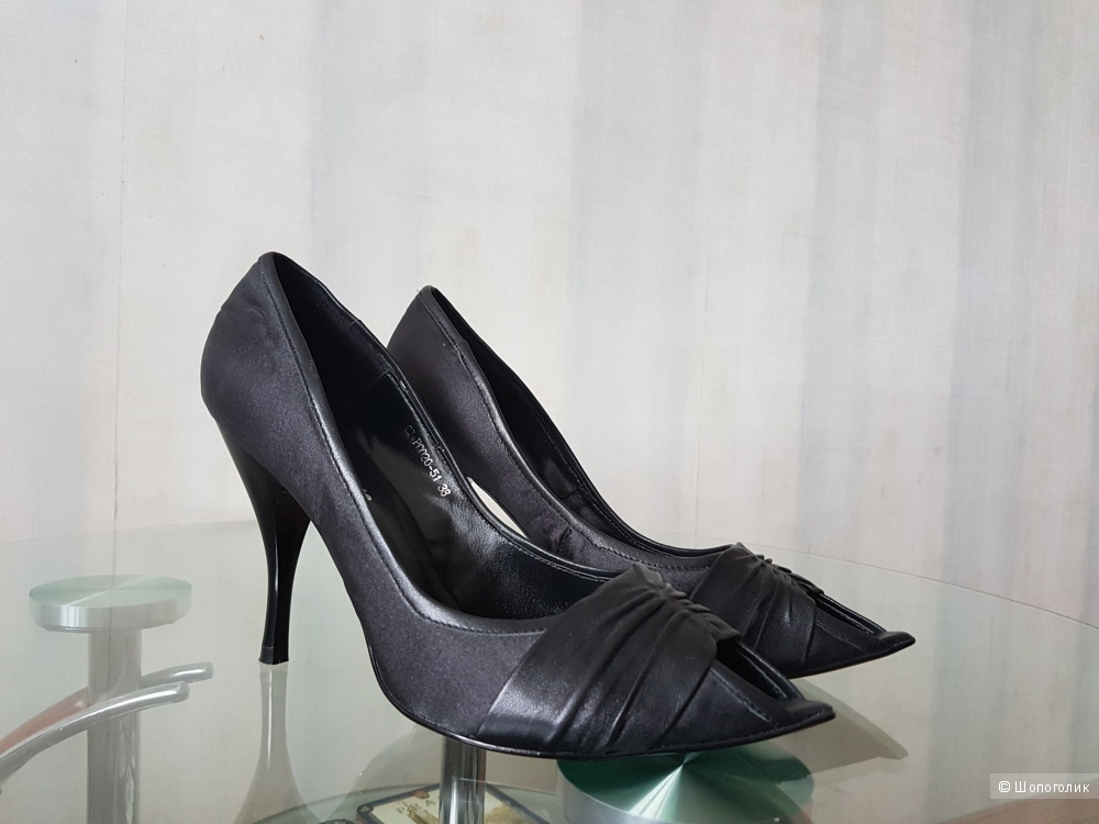 Туфли PAOLO CONTE с открытым мыском из ткани и кожи 38 размера