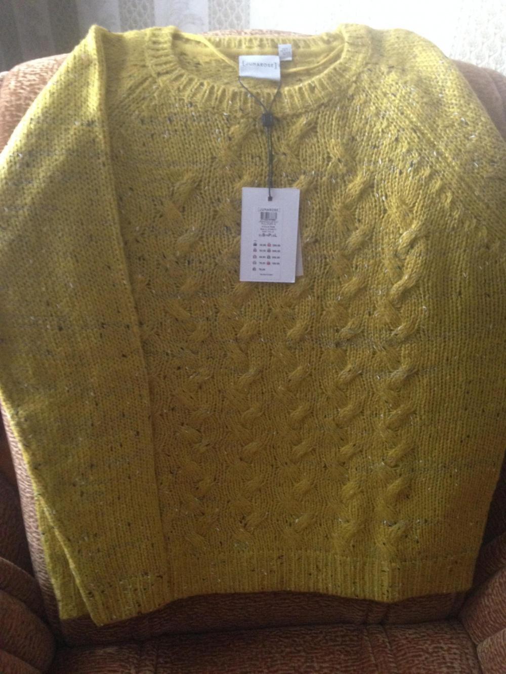 Свитер яркого горчичного цвета Junarose Criss Cross Knit Jumper, UK 14