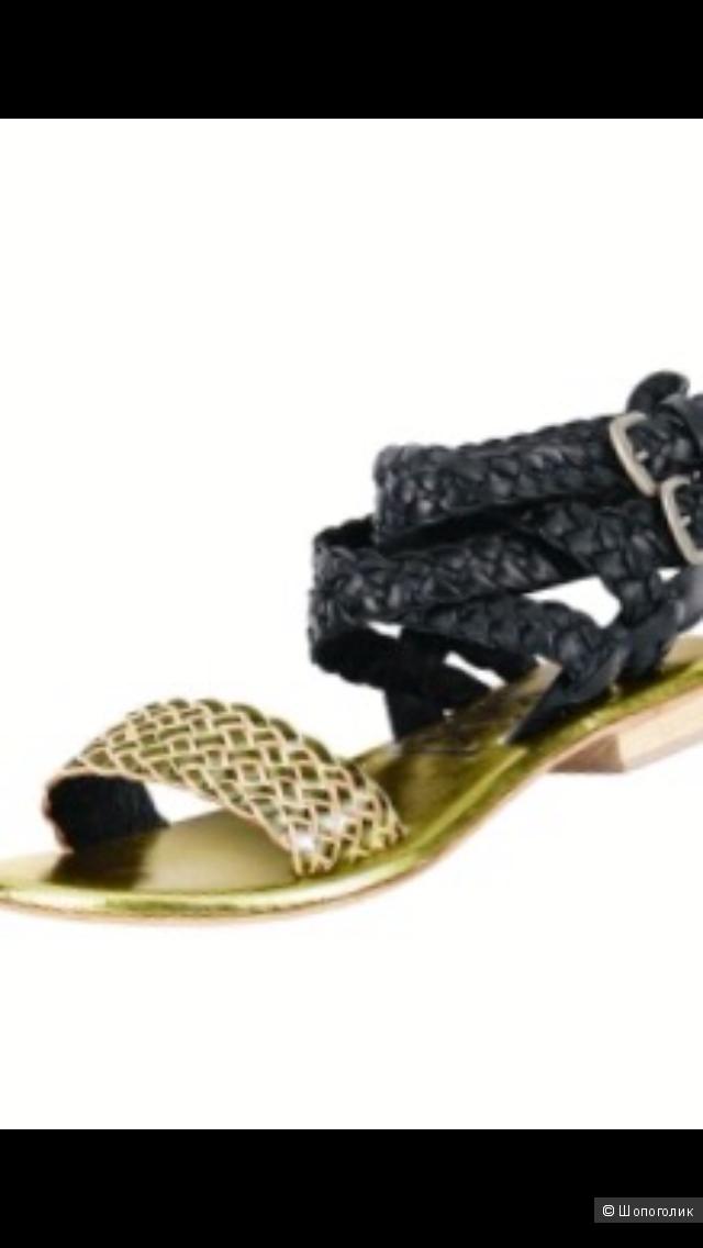 Кожаные черные золотистые босоножки XYXYX 40разм.