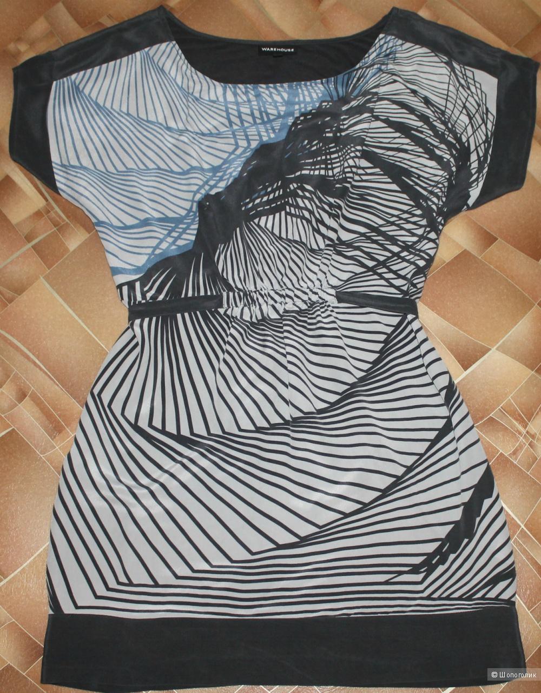 Шелковое серое платье,бренд WAREHOUSE размерUK10,рус.42-44