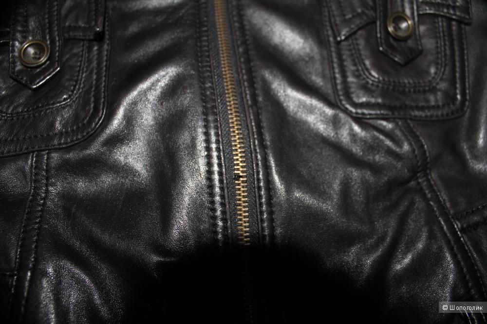 Черная кожаная куртка пр-во Турция,размер рус.42-44