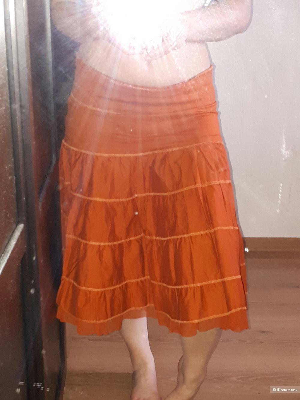 Юбка из хлопка оранжевого цвета