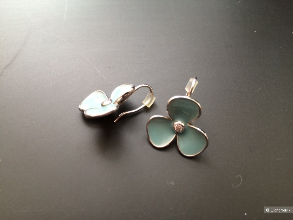 Серьги серебро+эмаль+цирконий