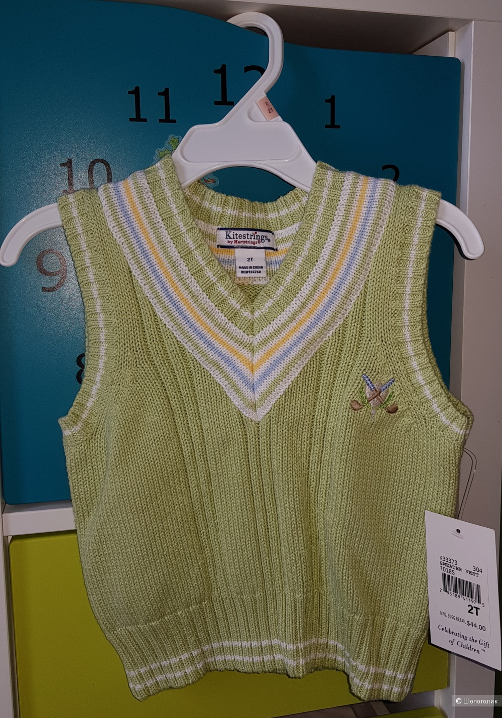 Жилетка Kitestrings Boys 2-7 Toddler Cable Knit Sweater Vest, Leaf Green, 2 года