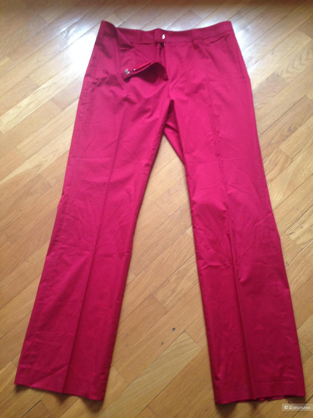 Летние хлопковые итальянские брюки красного цвета, р. 50 IT
