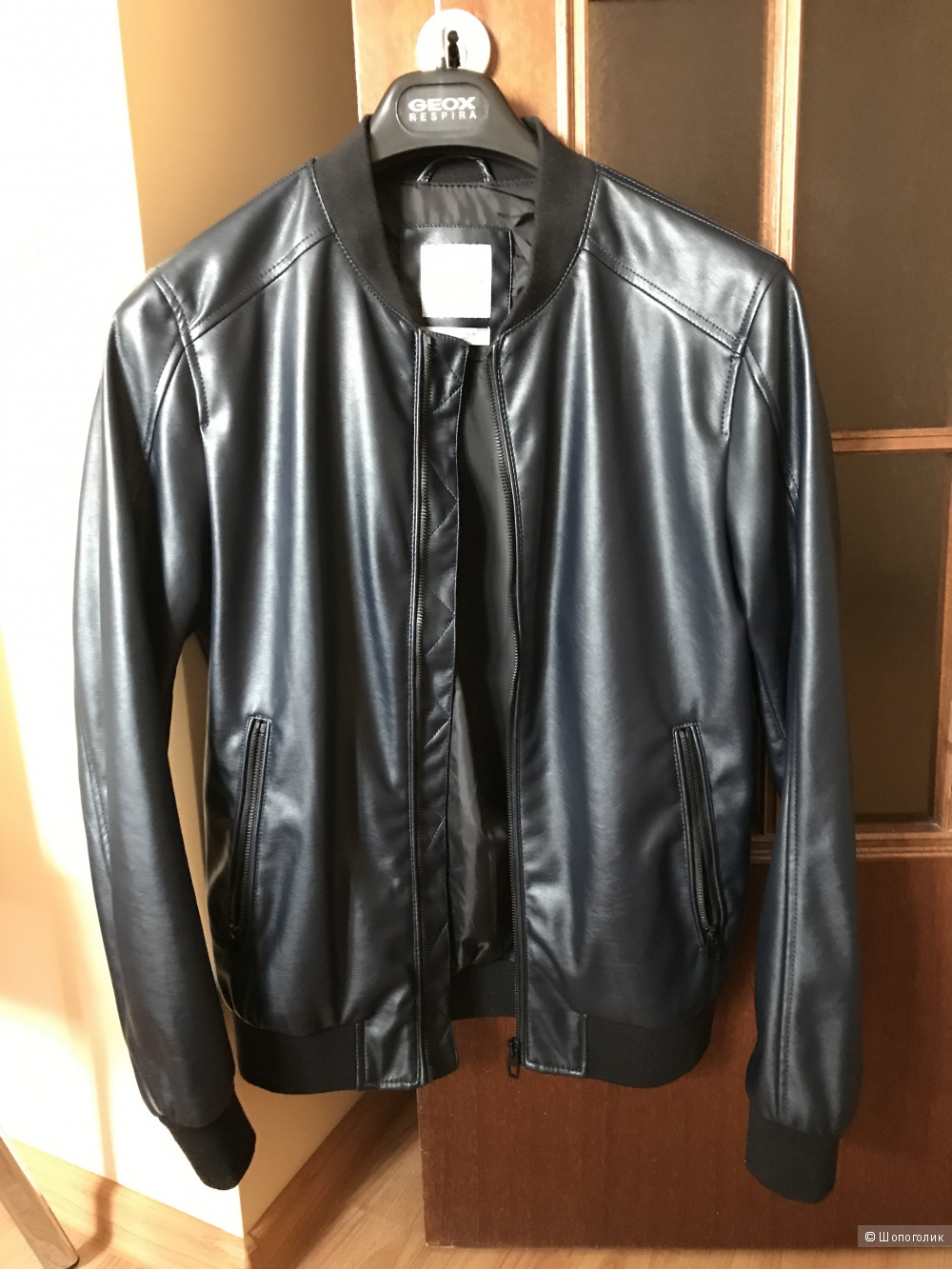 Мужская куртка-бомбер из искусственной кожи ZARA маркировка S.