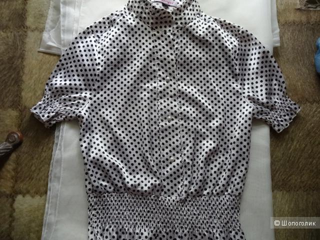"""Блузка белая в горох """"Jooyo"""", размер 44-46, б/у"""
