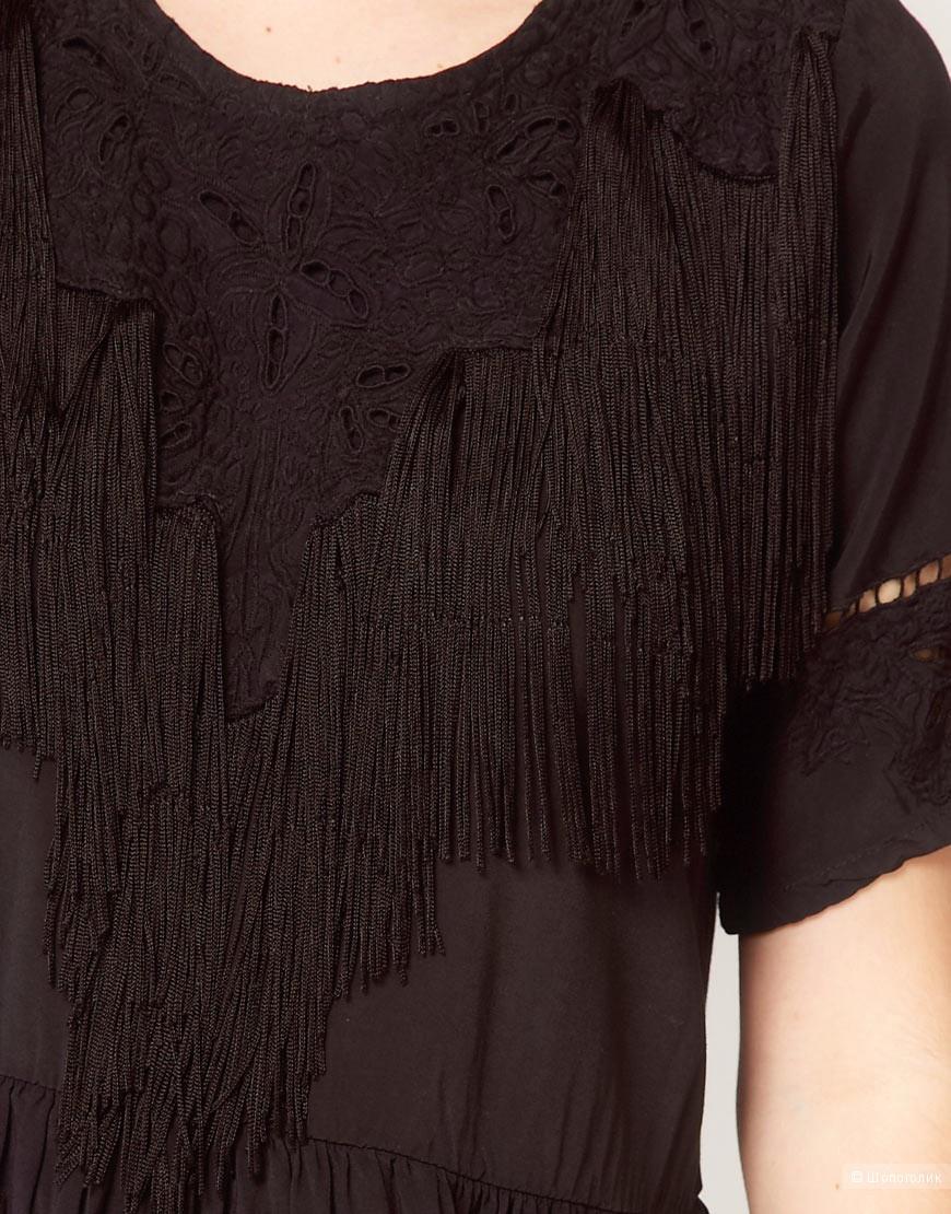 Черное платье с бахромой by Religion размер XS