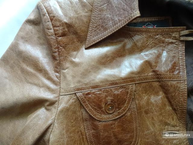 Кожаный пиджак с эффектом состаривания кожи, размер L, б/у