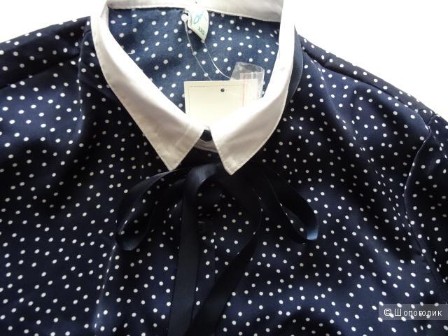 Блузка в мелкий горох с галстуком, размер 42-44