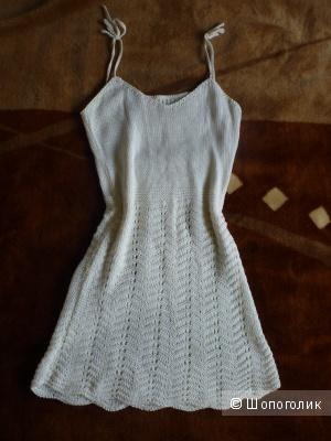 Летнее вязаное платье от мастерицы, 42-44 размер, б/у мало