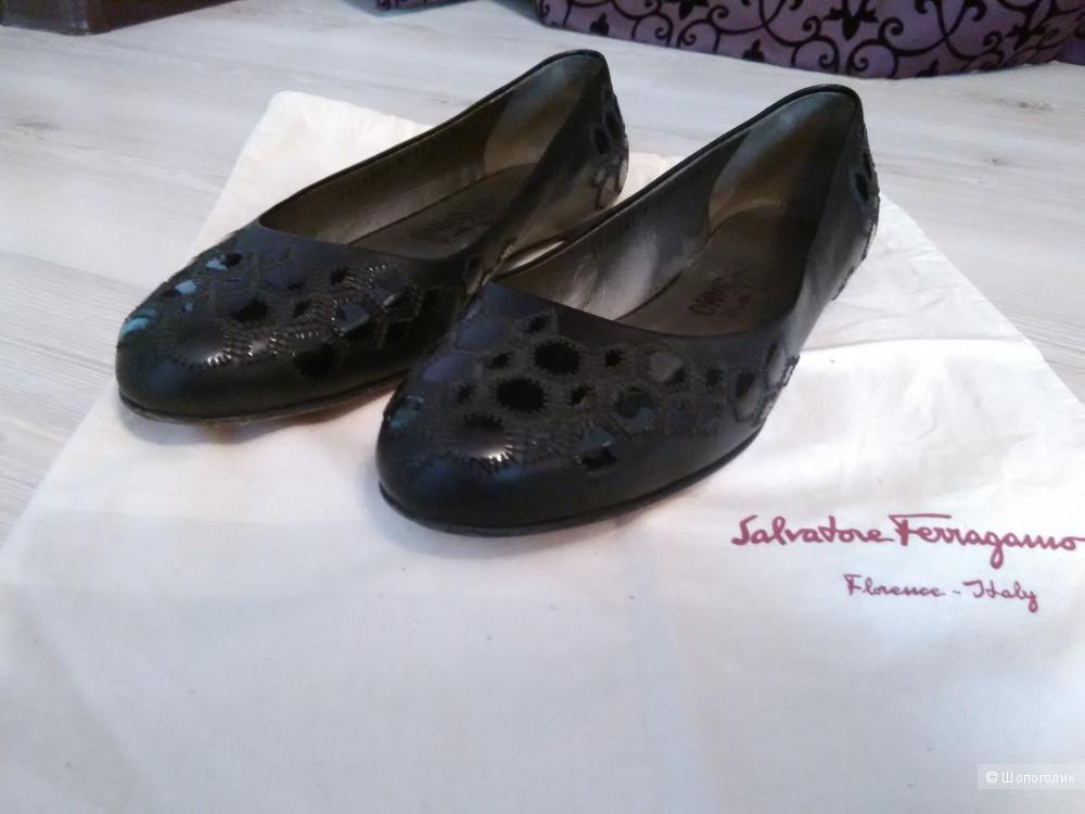 Туфли Salvatore Ferragamo, кожа, черные, размер 39, US 8.5