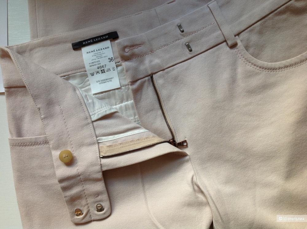Кремово-розовые брюки 7/8 немецкой премиум марки Rene Lezard, размер 36 на 44-46.