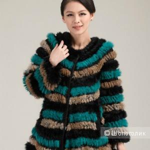 Женская куртка rabbit fur coat... из вязаного меха 42-44 размера.
