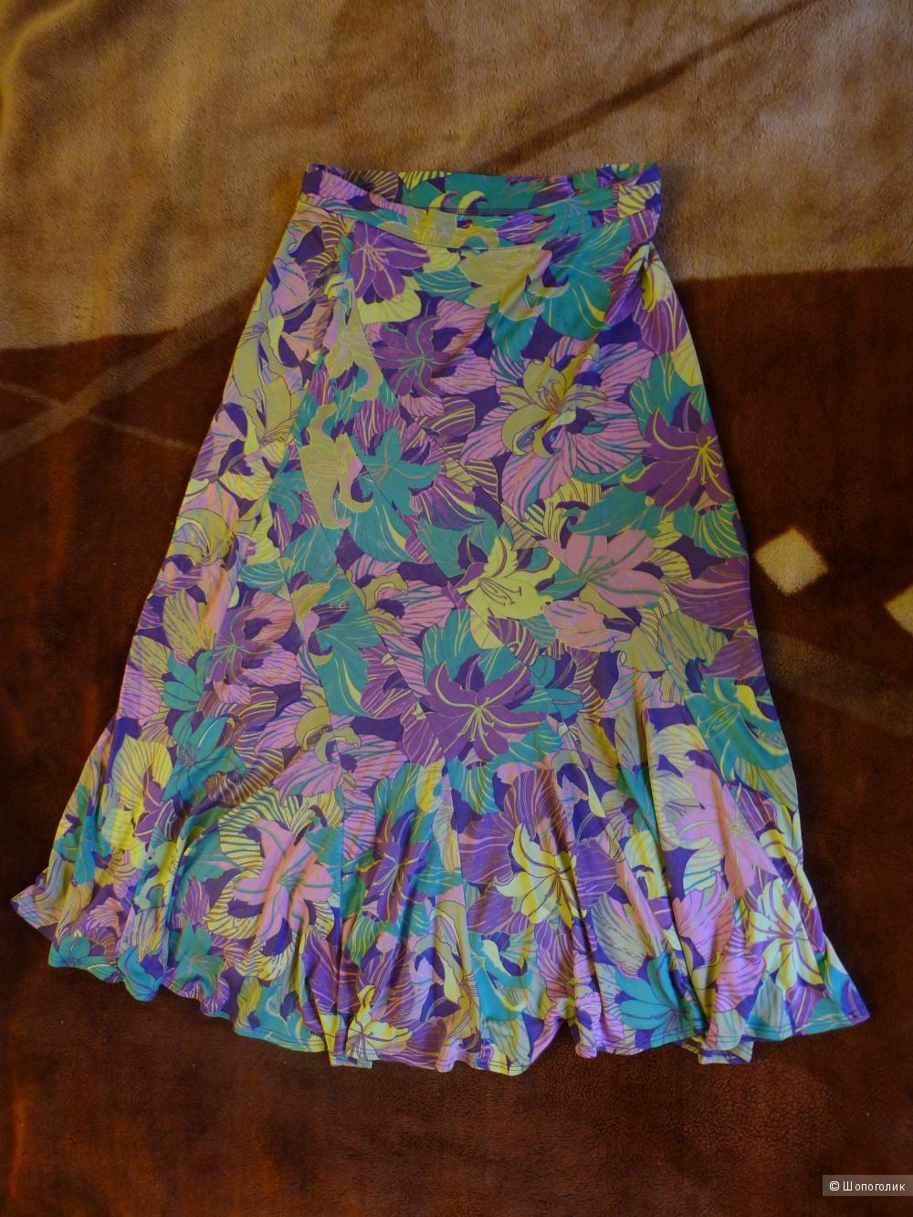 Шёлковая итальянская юбка, р. 42, б/у немного