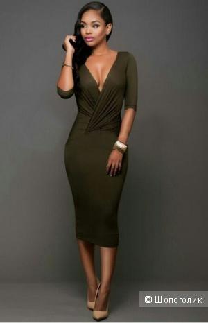 Платье миди хаки 46-48разм