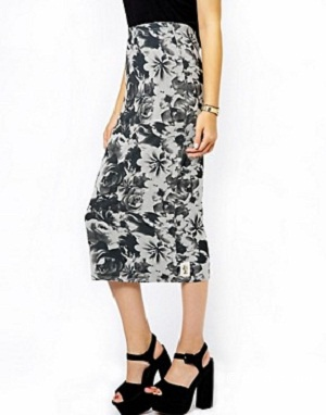 A Postcard From Brighton Floral Print Jersey Midi Skirt Size2-Uk12-Uk14